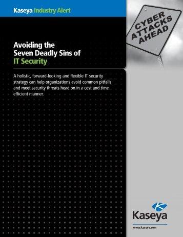 Kaseya Industry Alert Avoiding the Seven Deadly Sins of IT Security