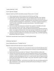 English 9 Lesson Plans Tuesday, September 7, 2010 Lesson ...
