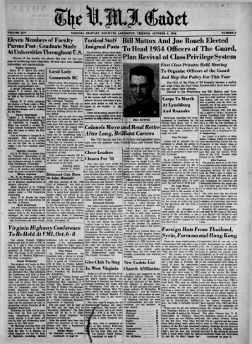 The Cadet. VMI Newspaper. October 04, 1954 - New Page 1 [www2 ...