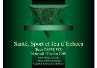 Santé, Sport et Jeu d'Echecs - Fédération Française des Échecs