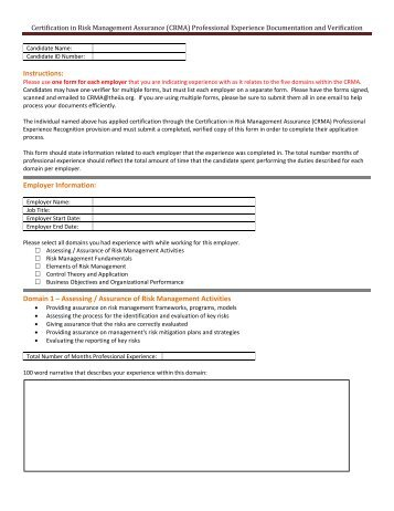 (CRMA) Professional Experience Documentation and Verification