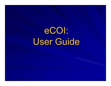 eCOI: User Guide - Office of Clinical Research - Emory University