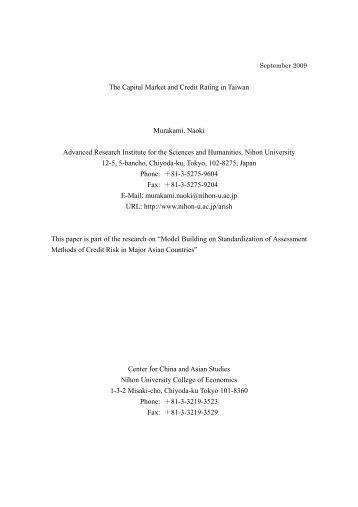 The Capital Market and Credit Rating in Taiwan Murakami, Naoki ...