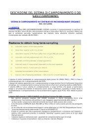 descrizione del sistema di campionamento e dei suoi componenti