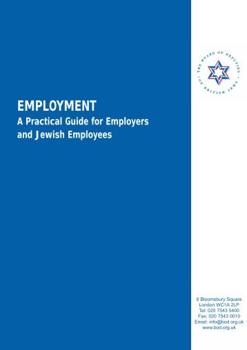 Employment - A Practical Guide for Employers and Jewish Employees