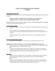 School of Nursing Requirements Guidelines Fall 2013