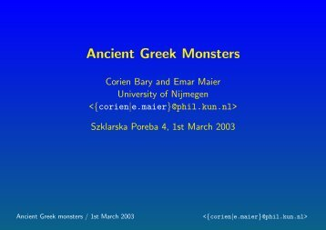 Ancient Greek monsters everywhere - Nijmegen Centre for Semantics