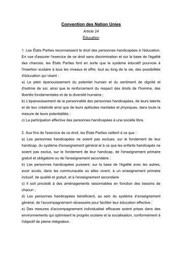 Convention des Nation Unies - CFHE