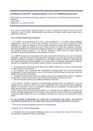 Résumé du rapport sur l'exercice médical face à la permanence des ...