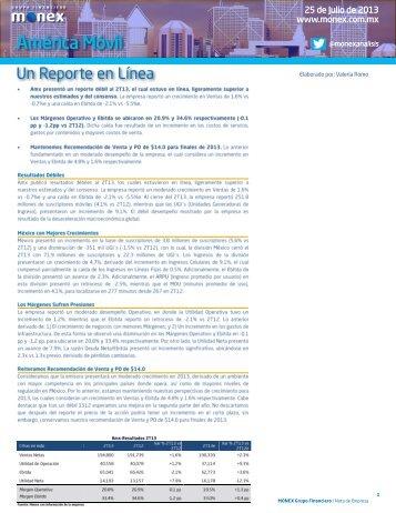 Nota de Empresa - Amx: Reportes Trimestrales 2T13 - Monex