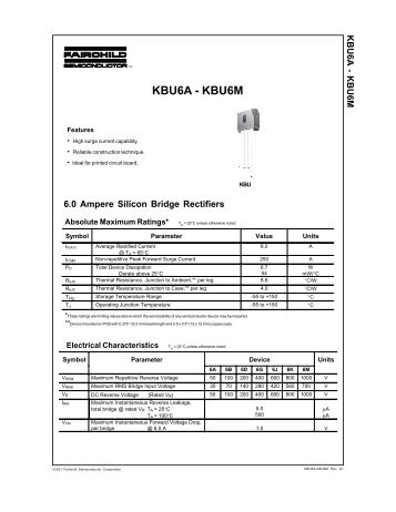 KBU6A-KBU6M 6.0 Ampere Silicon Bridge Rectifiers