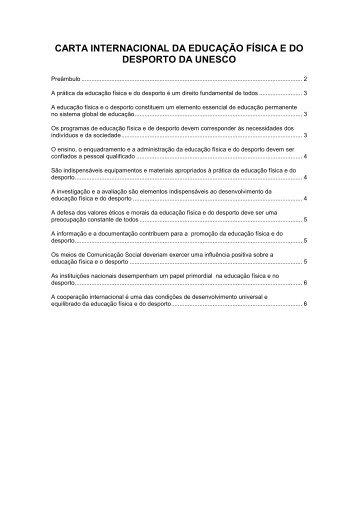 Carta Internacional da Educação Física e do Desporto da Unesco