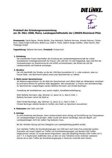 Protokoll der Gründungsversammlung am 29. März 2008, Mainz ...