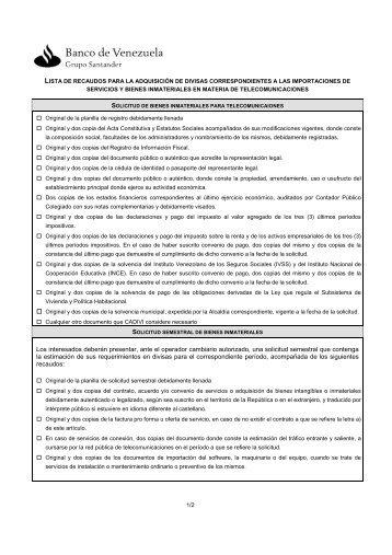 Lista de Recaudos para las Importaciones de Servicios y Bienes ...