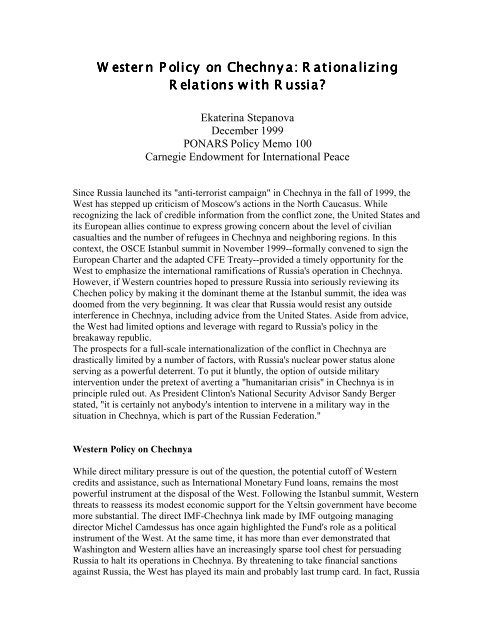 Western Policy on Chechnya: Rationalizing Relations with Russia
