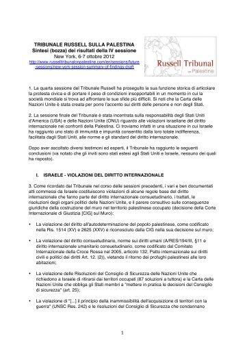 Tribunale Russell sulla Palestina, sintesi dei risultati della IV ...
