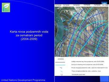 Karta nivoa podzemnih voda za osmatrani period (2004-2009)