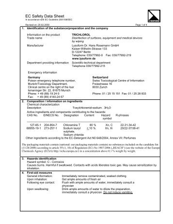 EC Safety Data Sheet - Lysoform.ch