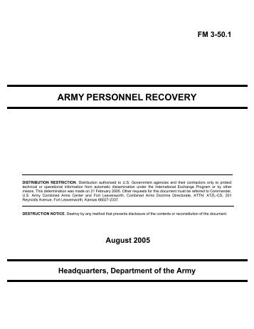Army Personnel Recovery (2005) - Federation of American Scientists