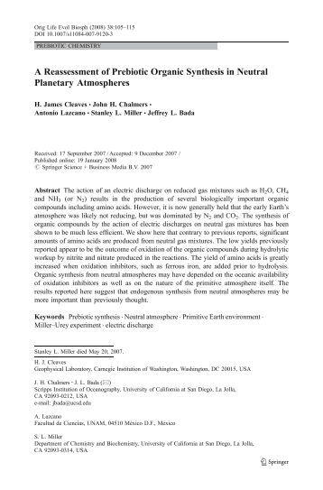 Cleaves et al. - Department of Biology