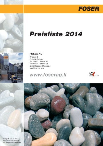 Preisliste Beton 2014 - Foser AG