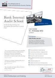 Bank Internal Audit School - MIS Training