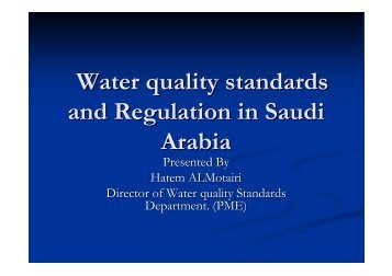 Water quality standards and Regulation in Saudi Arabia
