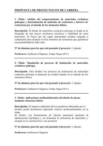 PROPUESTA DE PROYECTOS FIN DE CARRERA