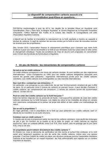 Le dispositif de compensation carbone associé à la reconstitution ...