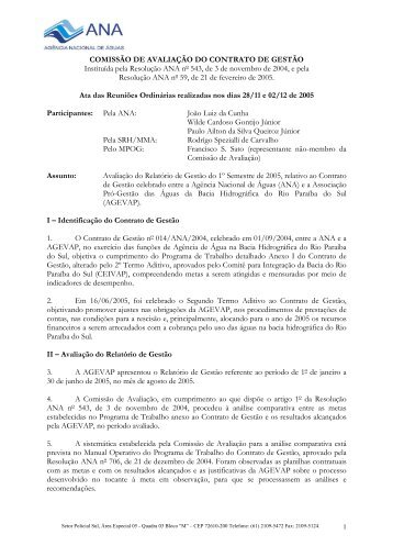 Relatório de Avaliação - 1º semestre 2005 - ceivap