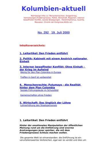 Kolumbien-aktuell No. 292 / 19. Juli 2000 - ask! Arbeitsgruppe ...