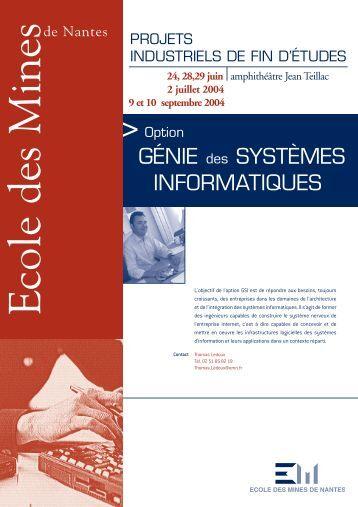 GÉNIE des SYSTÈMES INFORMATIQUES - Ecole des mines de ...