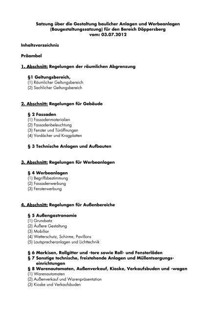 (Baugestaltungssatzung) für den Bereich ... - Stadt Wuppertal