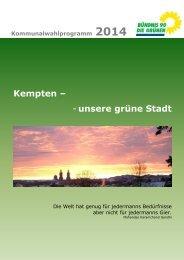 Kommunalwahlprogramm 2014 - Bündnis 90/Die Grünen Kempten