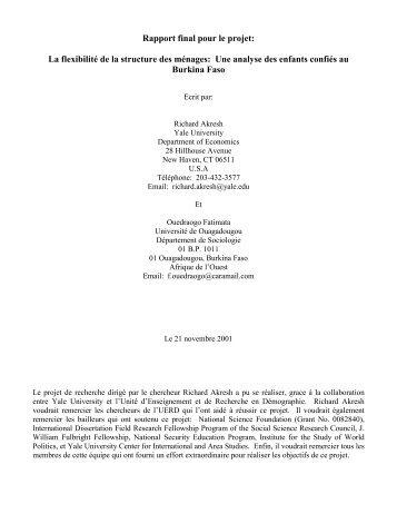 Rapport final pour le projet: La flexibilité de la structure des ...