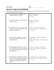 Velocity & Acceleration Problems
