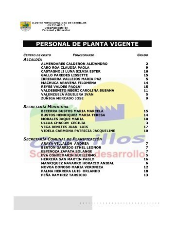 PERSONAL DE PLANTA mayo - I. Municipalidad de Cerrillos