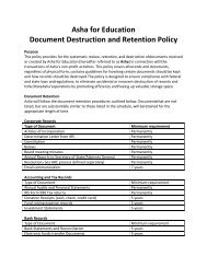 Asha for Education Document Destruction and Retention Policy