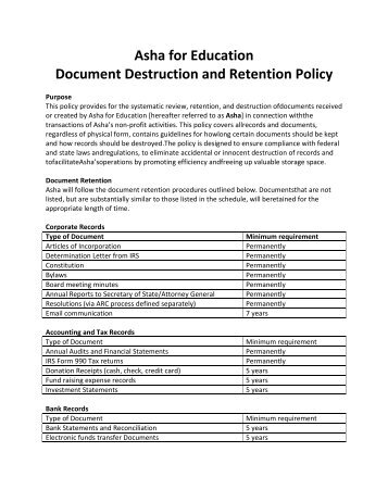 Current In-Force Document Data Retention Requirements For