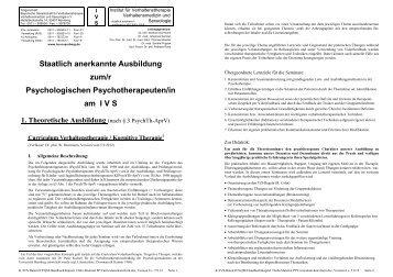 Curriculum Verhaltenstherapie/Kognitive Therapie - Institut für ...