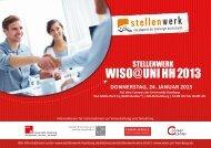Ausstellerinformationen Stellenwerk WiSo 2013 mit Anmeldung