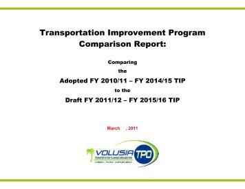 TIP Comparison Report - Volusia TPO | Transportation Planning ...