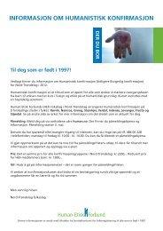 informasjon om humanistisk konfirmasjon - Human-Etisk Forbund