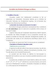 Inscription des étudiants étrangers au Maroc • Condition d'accès :
