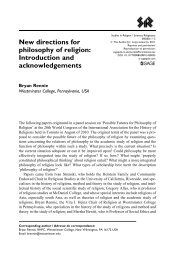 New directions for philosophy of religion: Introduction and ...
