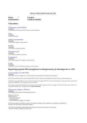 REGULERINGSREGNSKAB 2005 Status : Uændret ... - Energitilsynet
