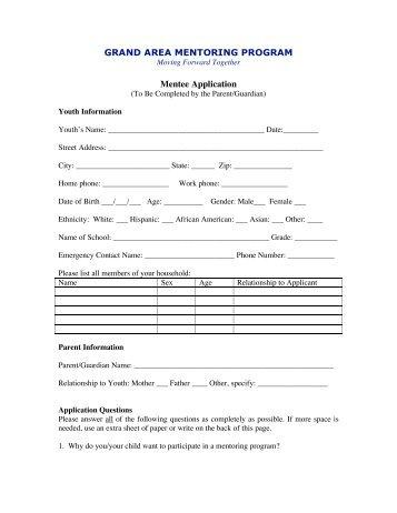 mentoring application templates - lacoe mentor mentee description and application aspire