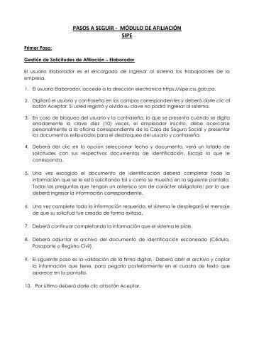 PASOS A SEGUIR - MÓDULO DE AFILIACIÓN SIPE - Caja del ...