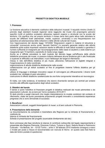 progetti di didattica museale - Regione Piemonte