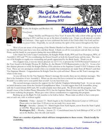 January 2012 - North Carolina State Council